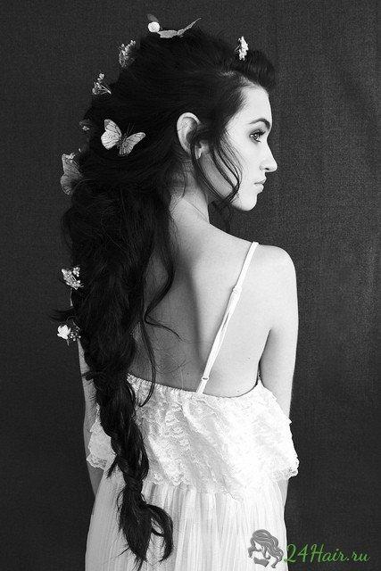 Свадебные прически длинные черные волосы
