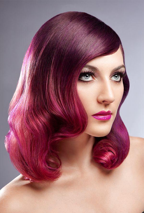 градиент на фиолетовые волосы