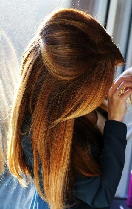 омбре на черные волосы со светлым каштаном