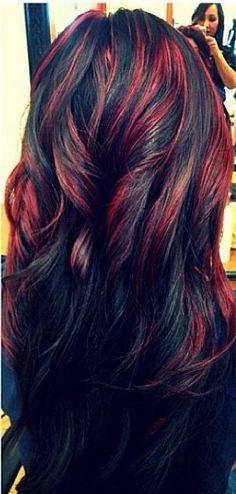 мелирование красным на темные волосы