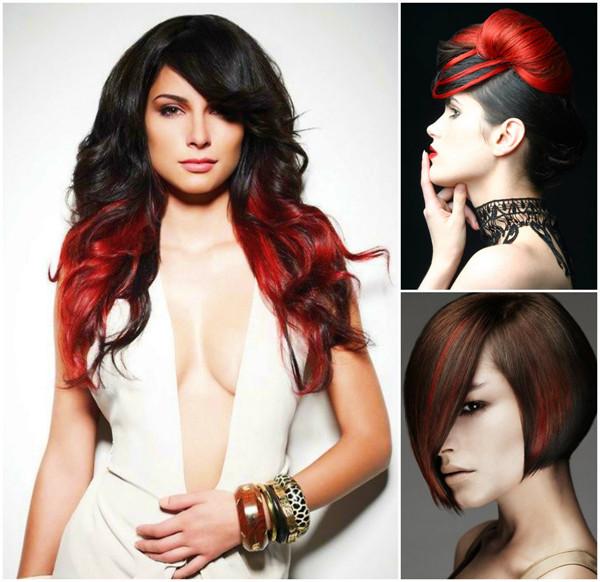 Волосы двух цветов: акцент на красное