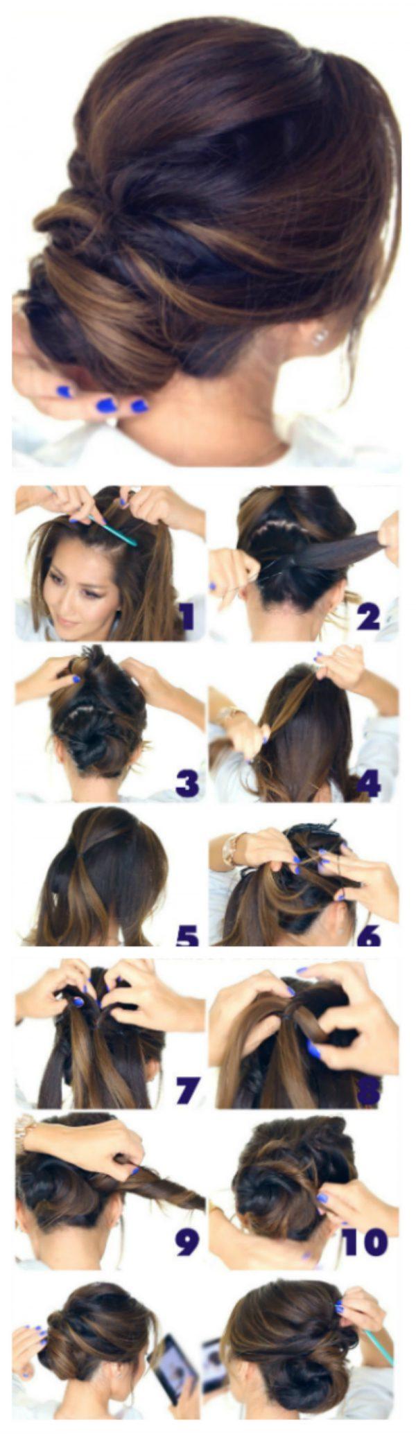 7 вариантов как сделать красивый пучок из волос для волос 23