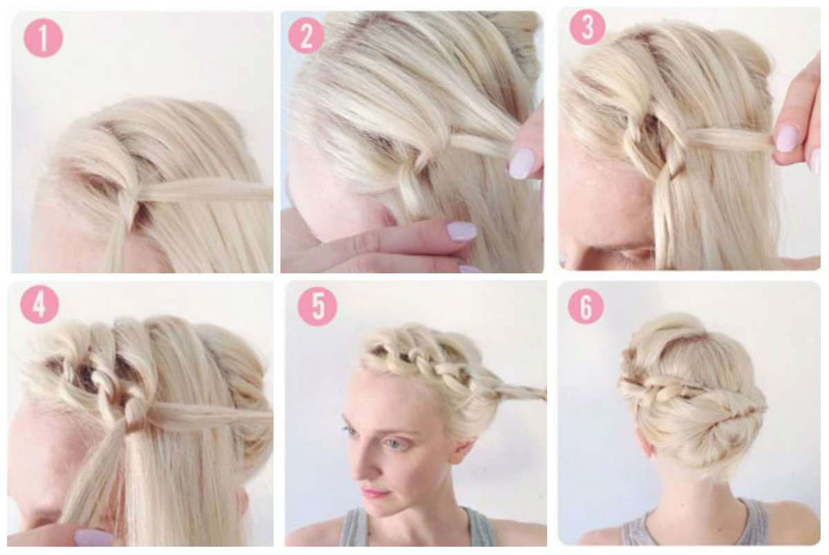 Косичка-цепочка для коротких волос