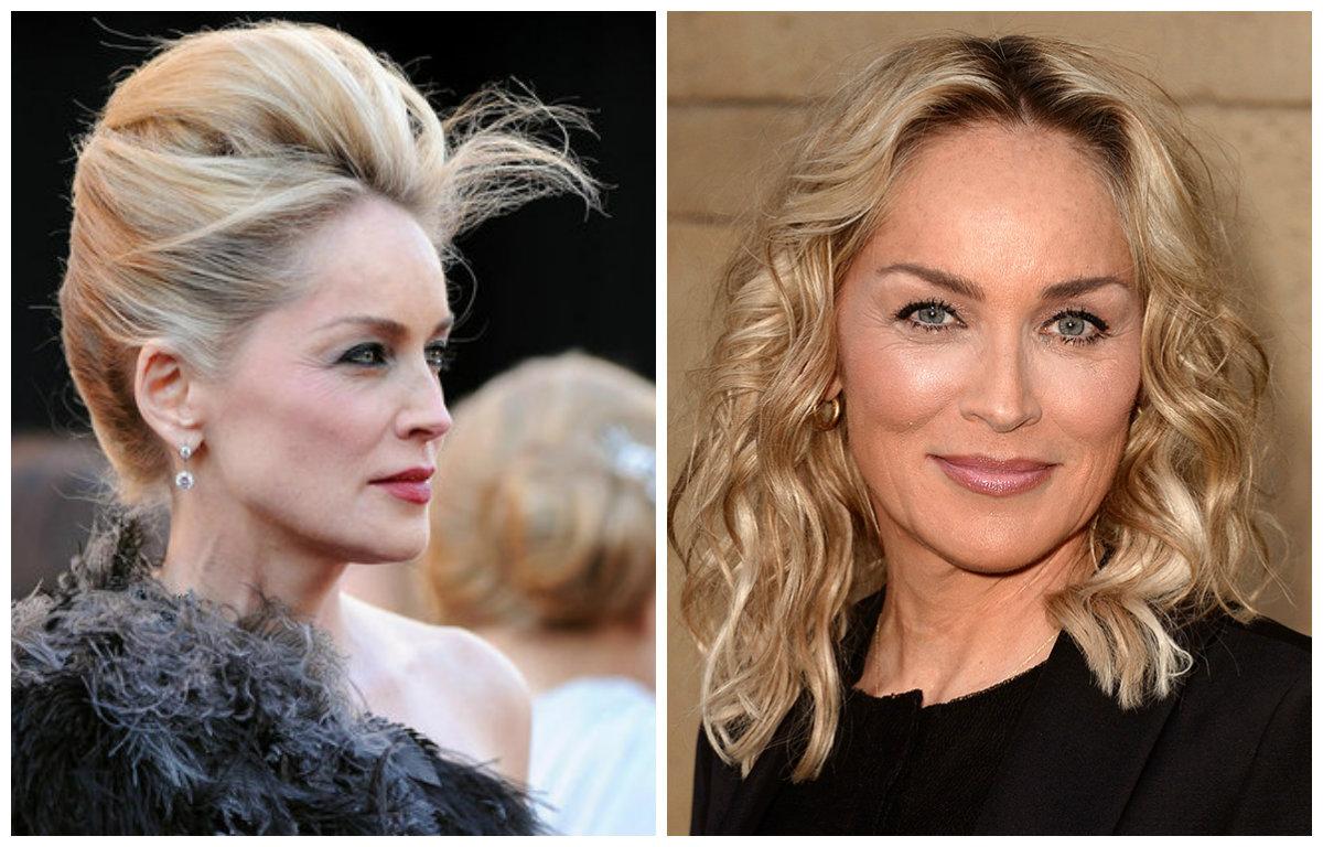 Распущенные волосы или сложная прическа: Шерон Стоун