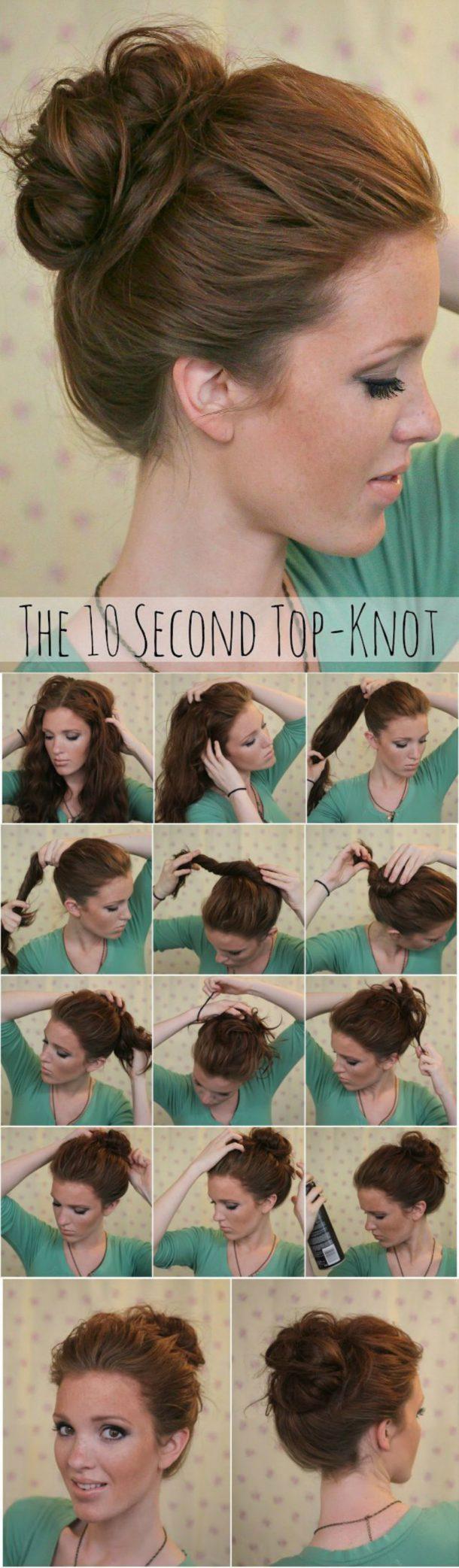 7 вариантов как сделать красивый пучок из волос для волос 6