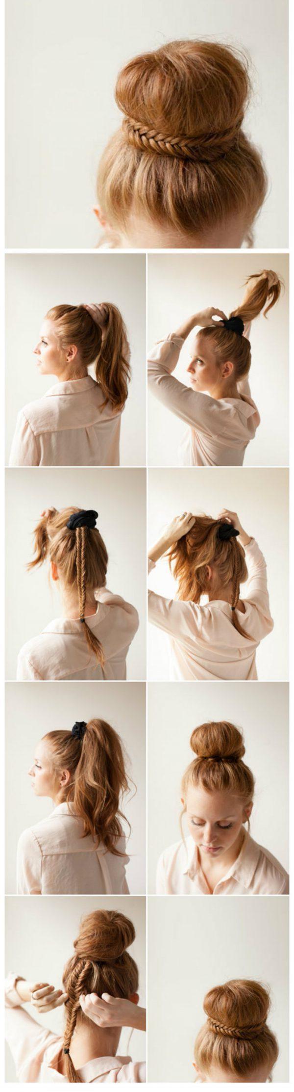 7 вариантов как сделать красивый пучок из волос для волос 325