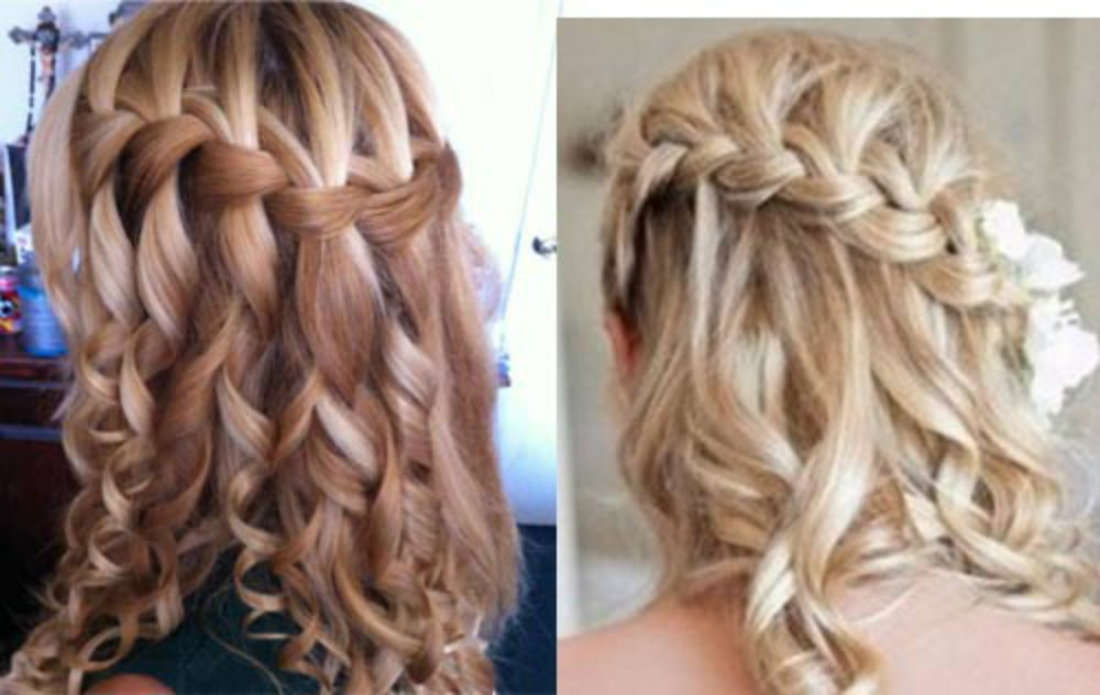 Плетение кос на длинные волосы с локонами