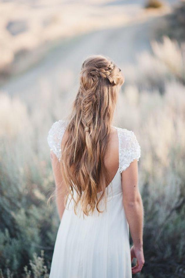 свадебные прически на полураспущенные волосы: фото 11