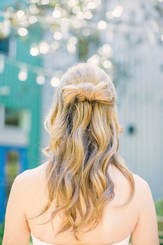 свадебные прически на полураспущенные волосы: фото 14