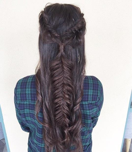 Прически на полураспущенные волосы: фото 7