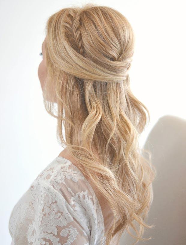 Прически на полураспущенные волосы: фото 19