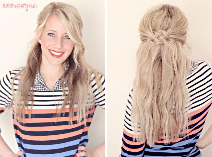 Прически на полураспущенные волосы: фото 29