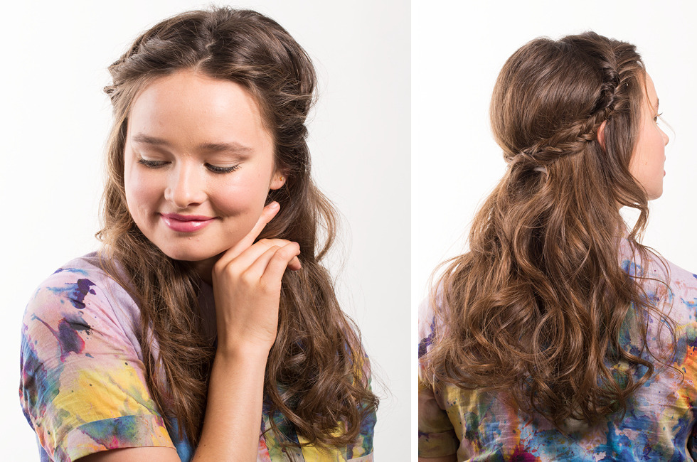 Прически на полураспущенные волосы: фото 26