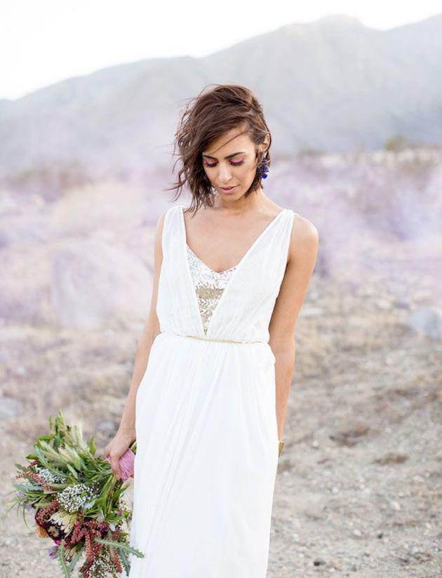 свадебные прически на короткие волосы: фото 30