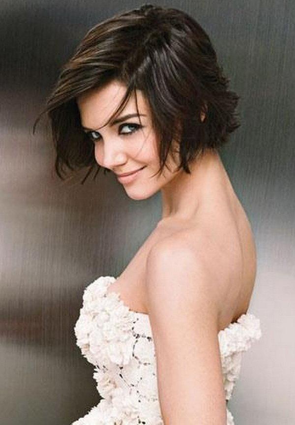 свадебные прически на короткие волосы: фото 48
