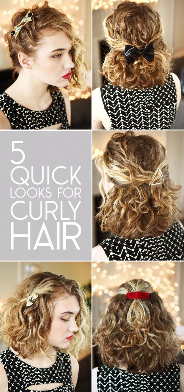 прически с аксессуарами для вьющихся волос