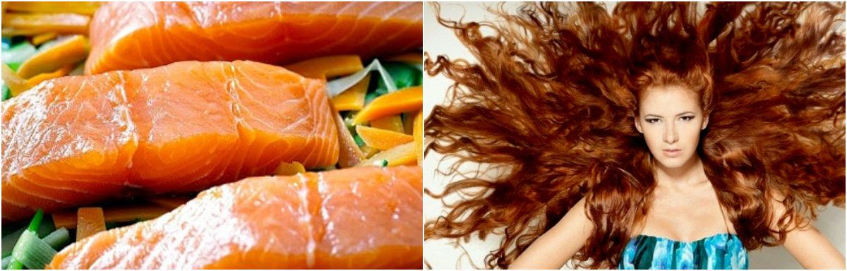 Продукты для роста волос: лосось
