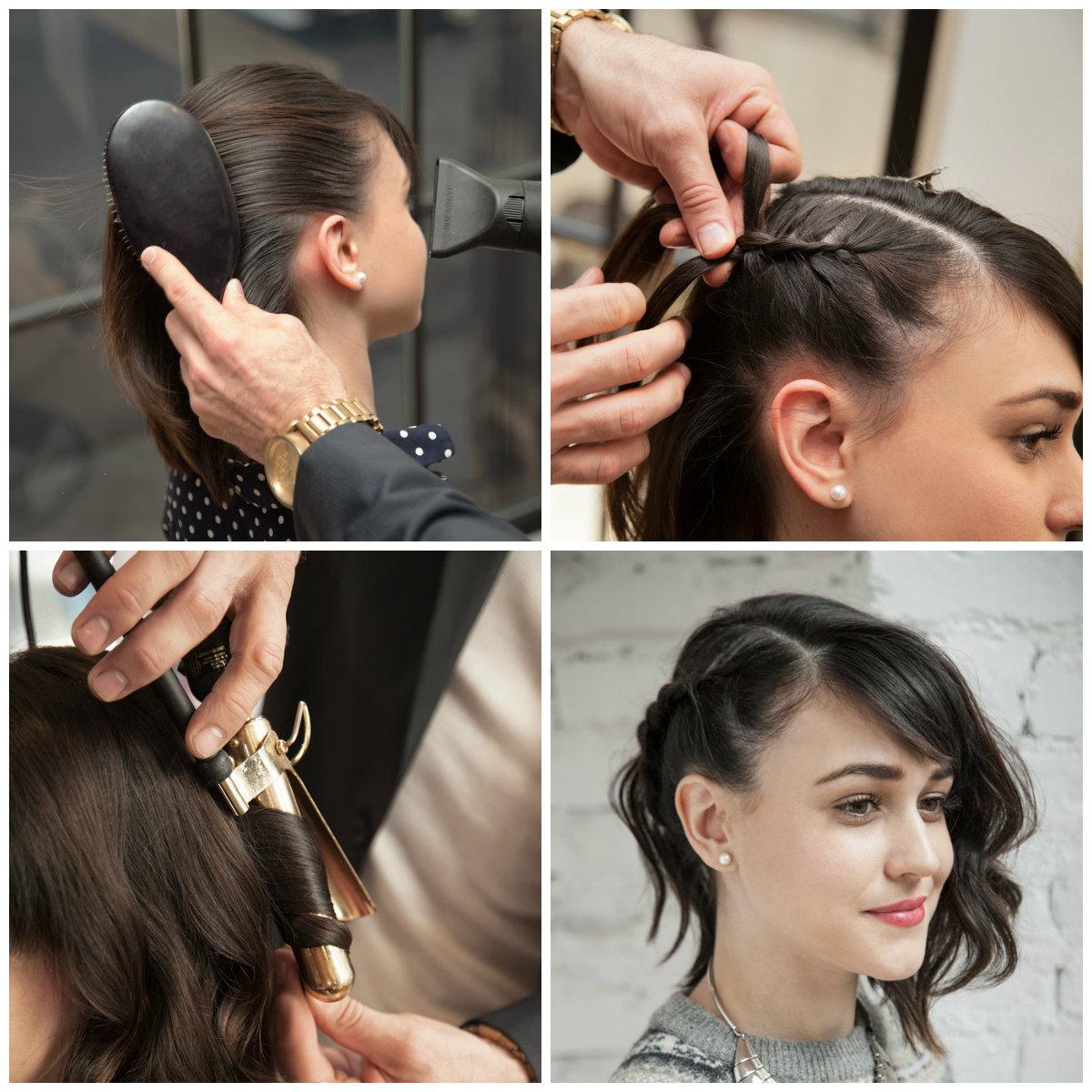 прическа на бок для коротких волос