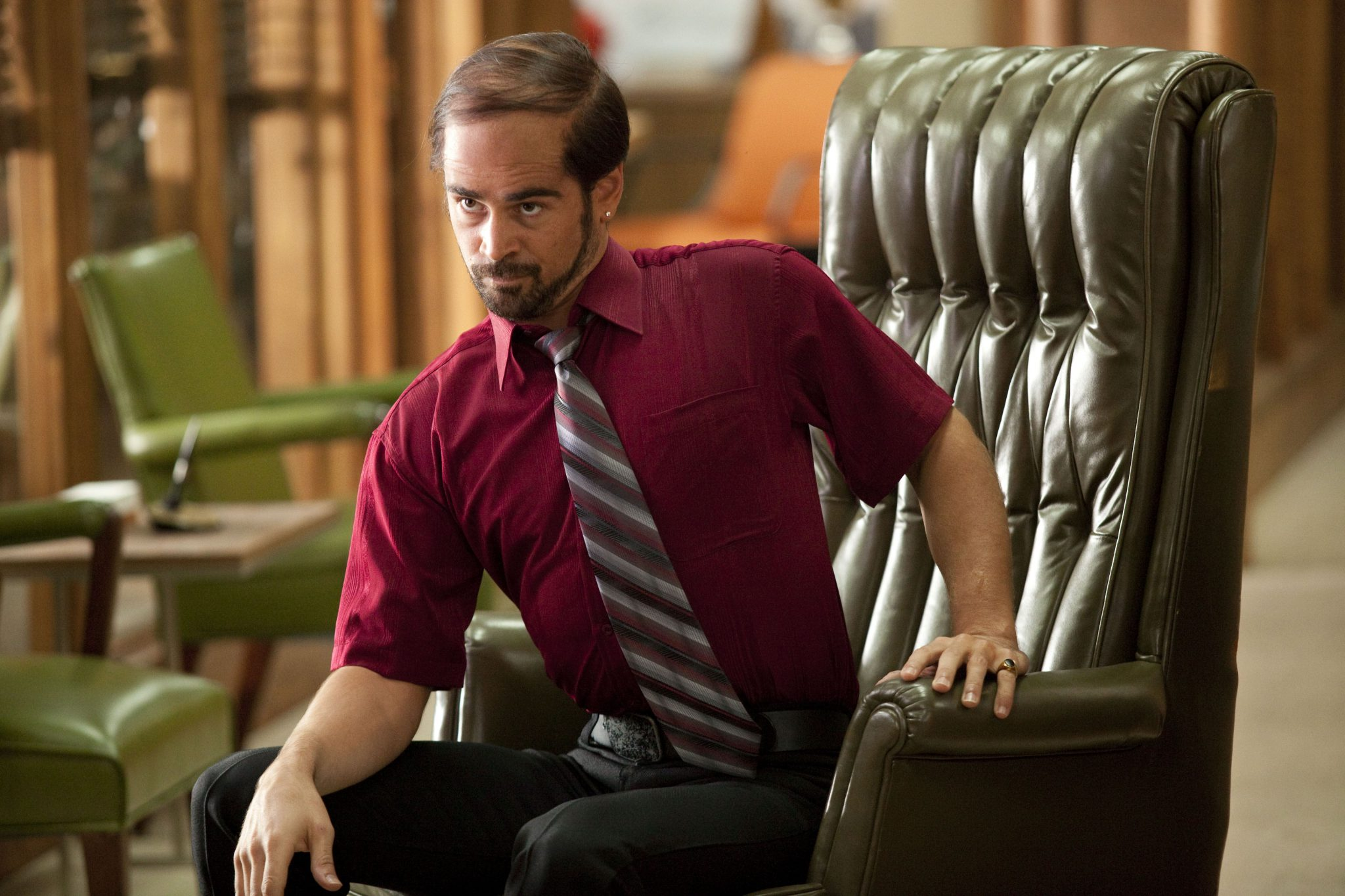"HB-01041 COLIN FARRELL as Pellit Jr. in New Line Cinema's comedy ""HORRIBLE BOSSES,"" a Warner Bros. Pictures release."