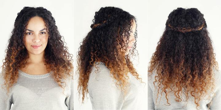 кудрявые волосы с окрашенными кончиками
