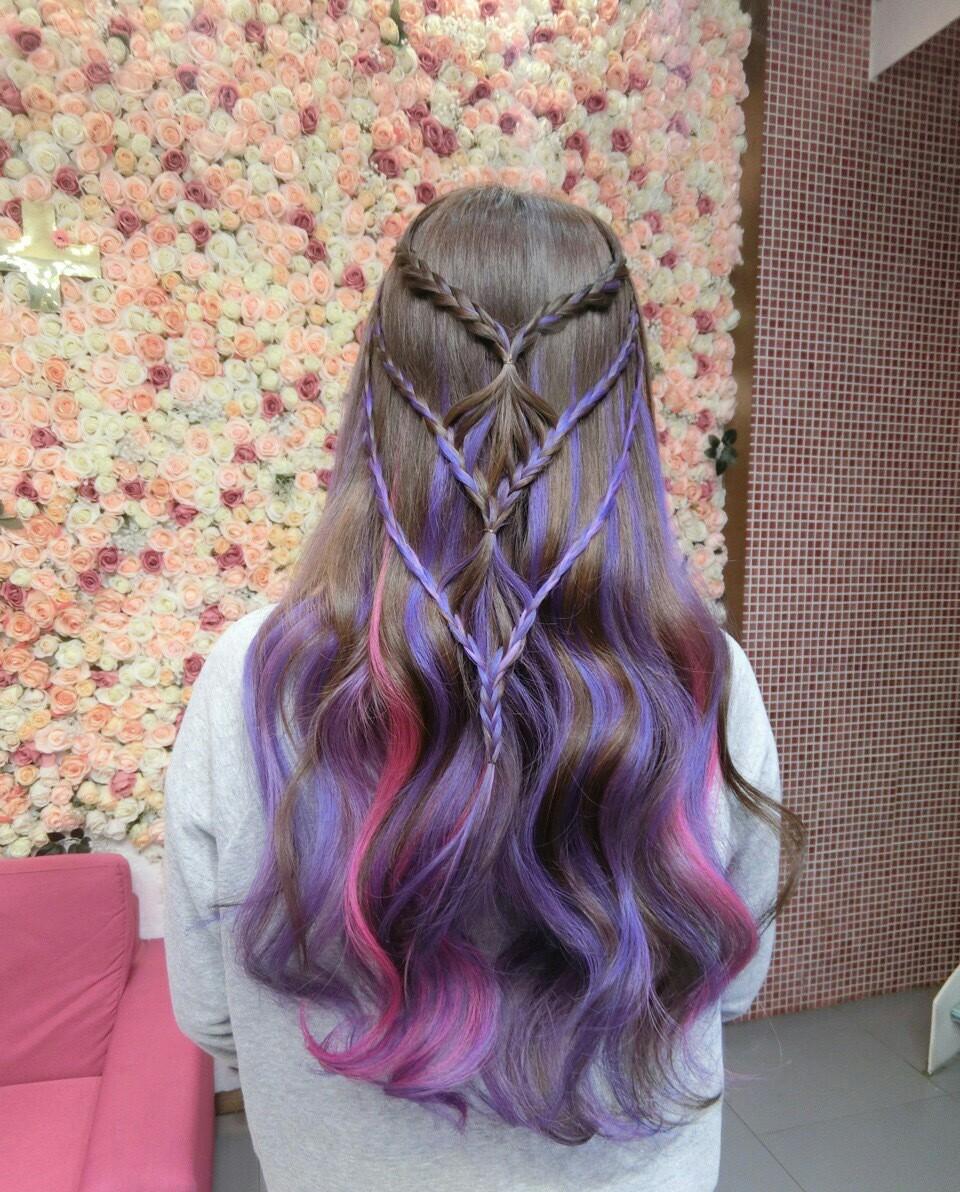 окрашенные кончики: прически с косами фото 2