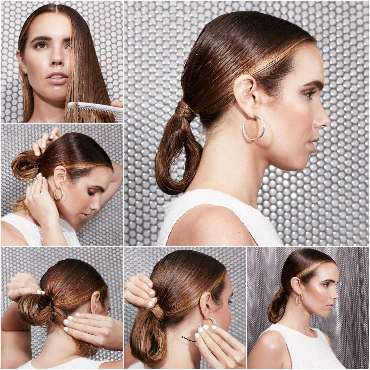 деловая прическа на мокрые волосы