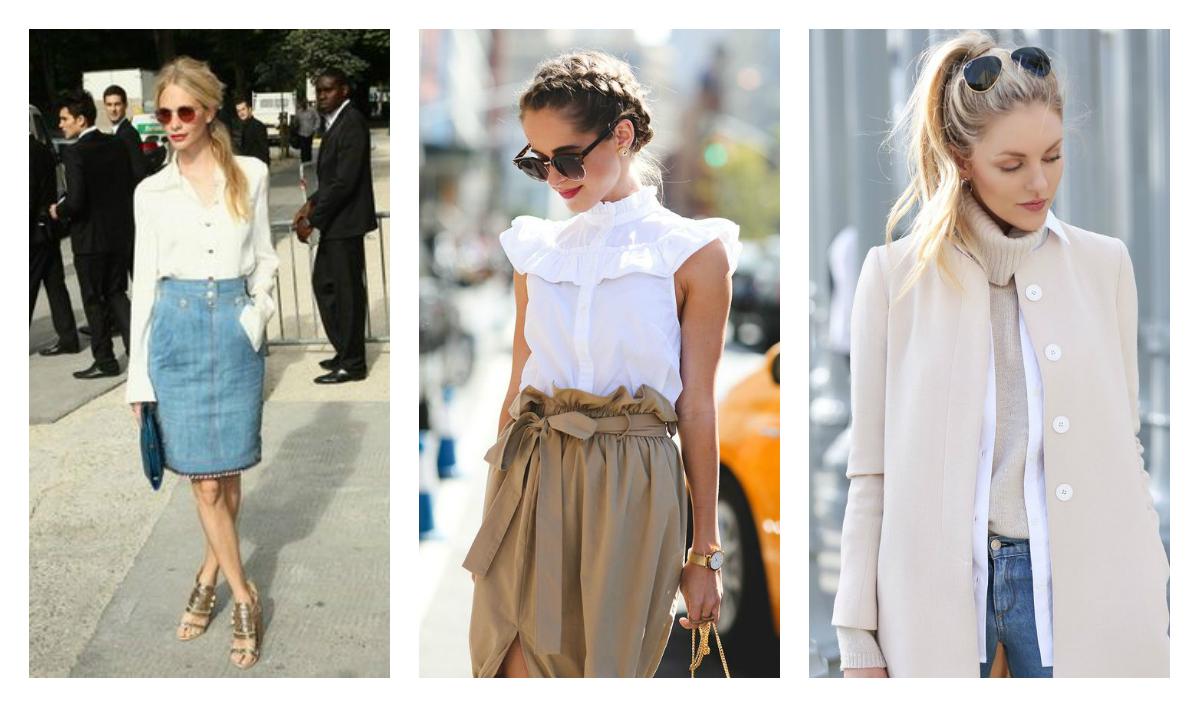 белая блузка и прическа