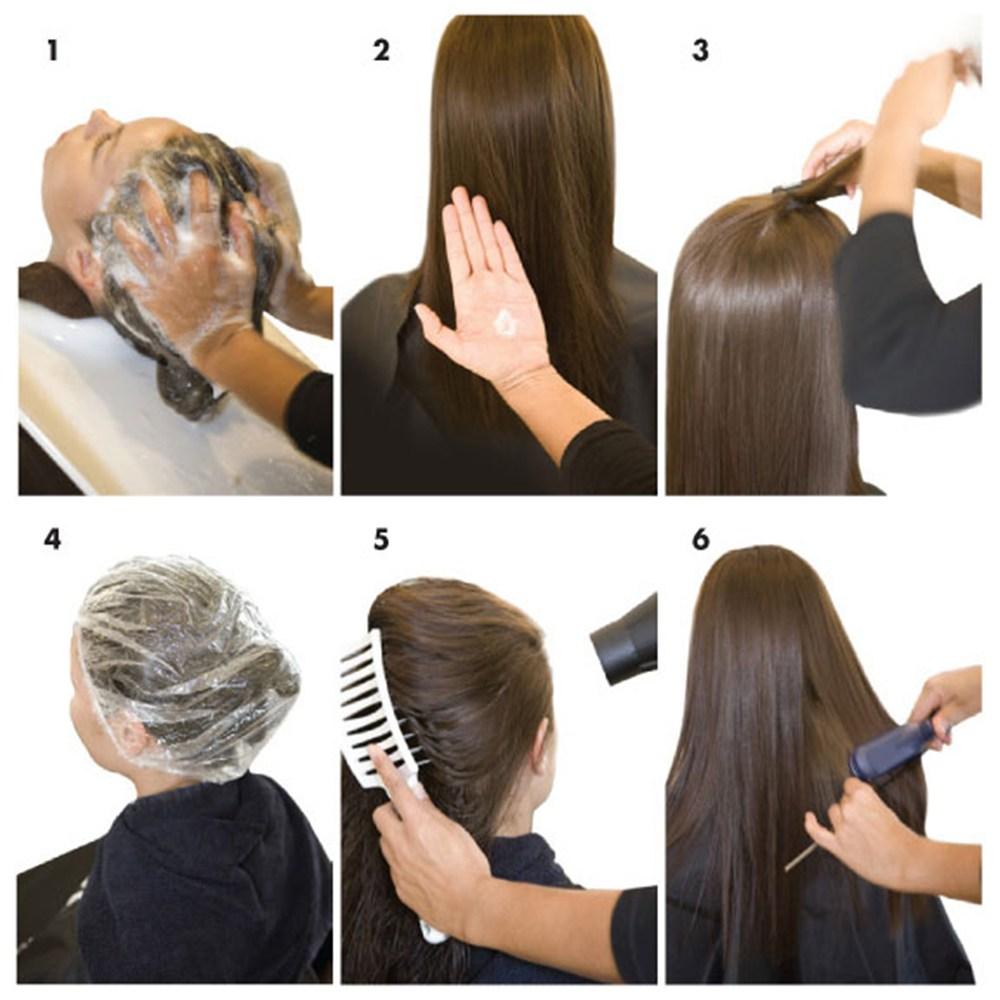 выпрямление волос с помощью средства