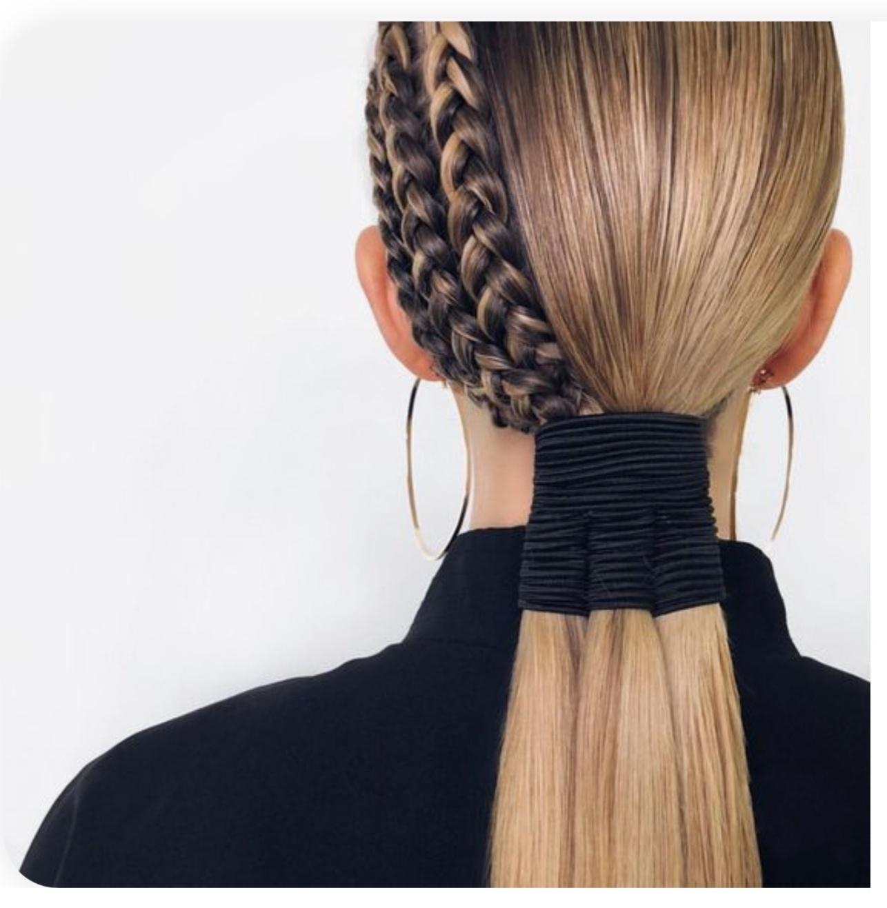 как сделать низкий хвост с 3 косами