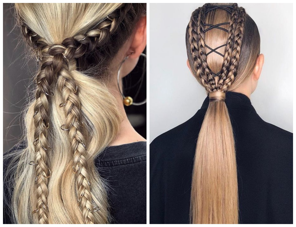 низкий хвост с двумя косами