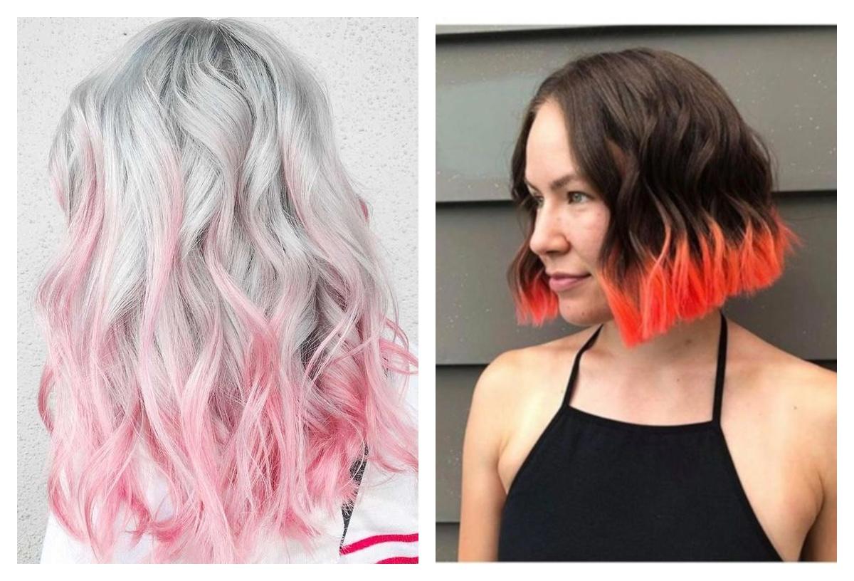 яркие кончики волос