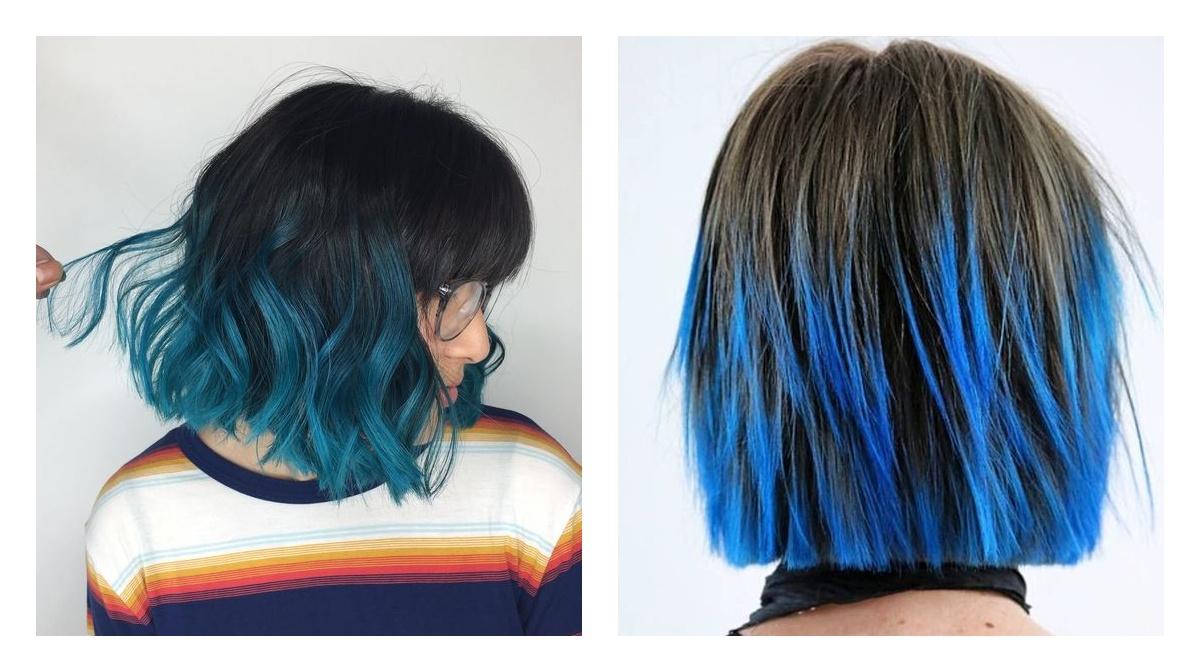 синие кончики волос двойное окрашивание