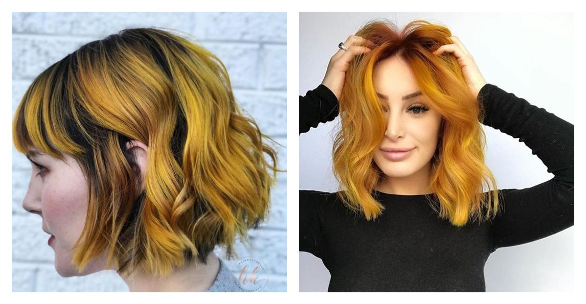 горчичный цвет волос на коротких и длинных волосах