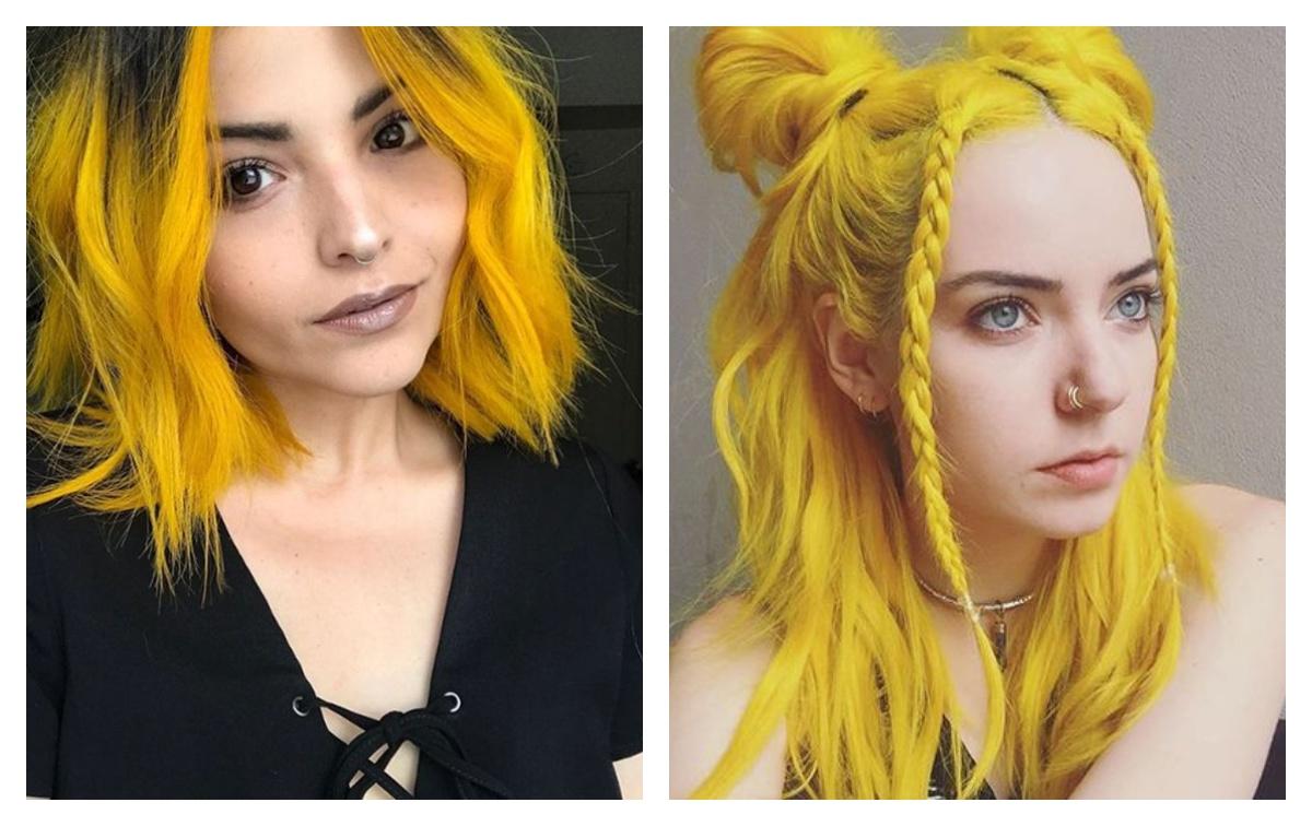 неоново-желтые оттенки волос