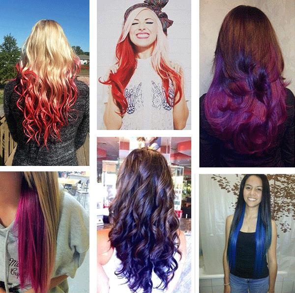 яркое цветное омбре на волосах фото