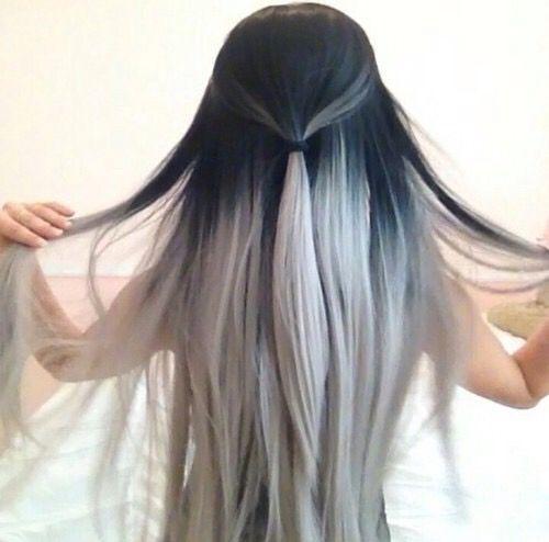 Чёрные волосы с белым
