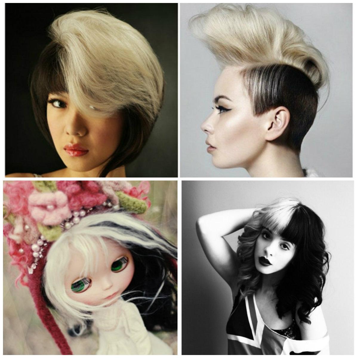 Покраска волос в два цвета: черно-белый вариант