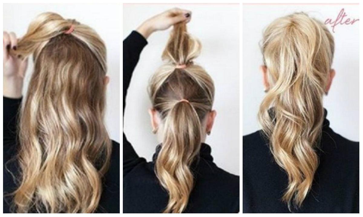прически на длинные волосы: двойной хвост