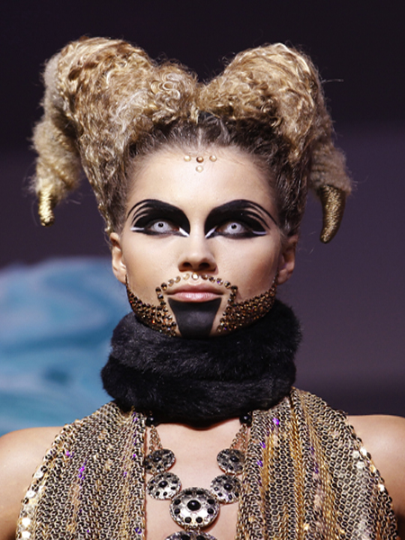 A model displays a creation during the Alternative Hair Show at the Grand Temple, Freemason's Hall in central London
