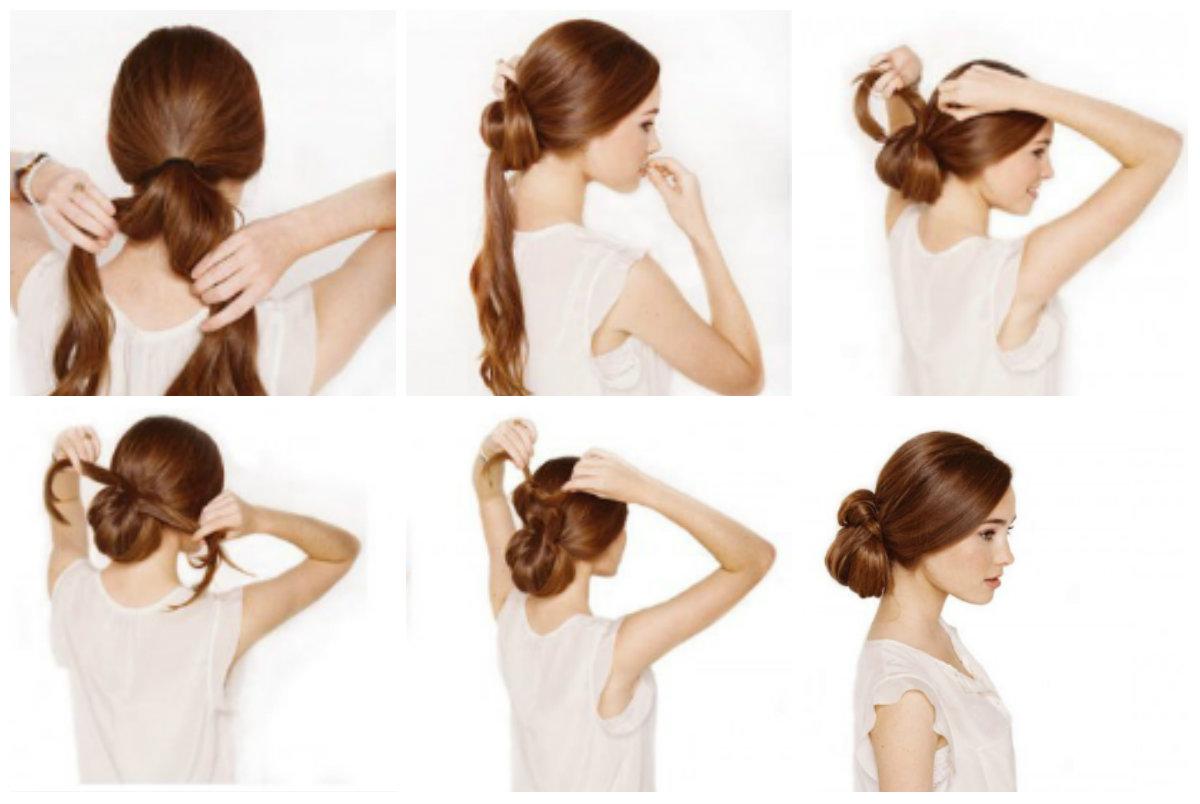Прическа на длинные волосы: пучок