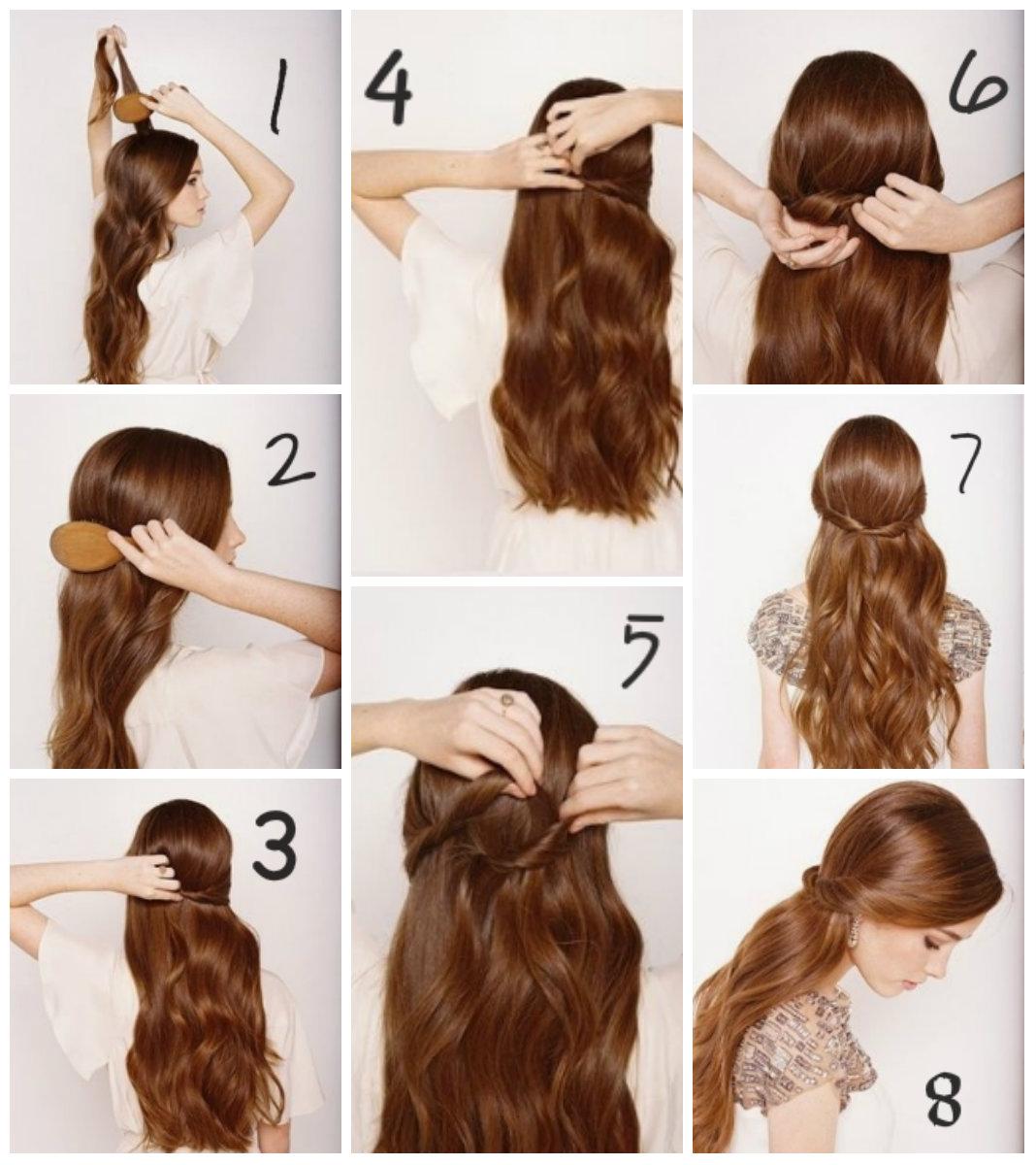 Простые причёски на средние волосы пошагово
