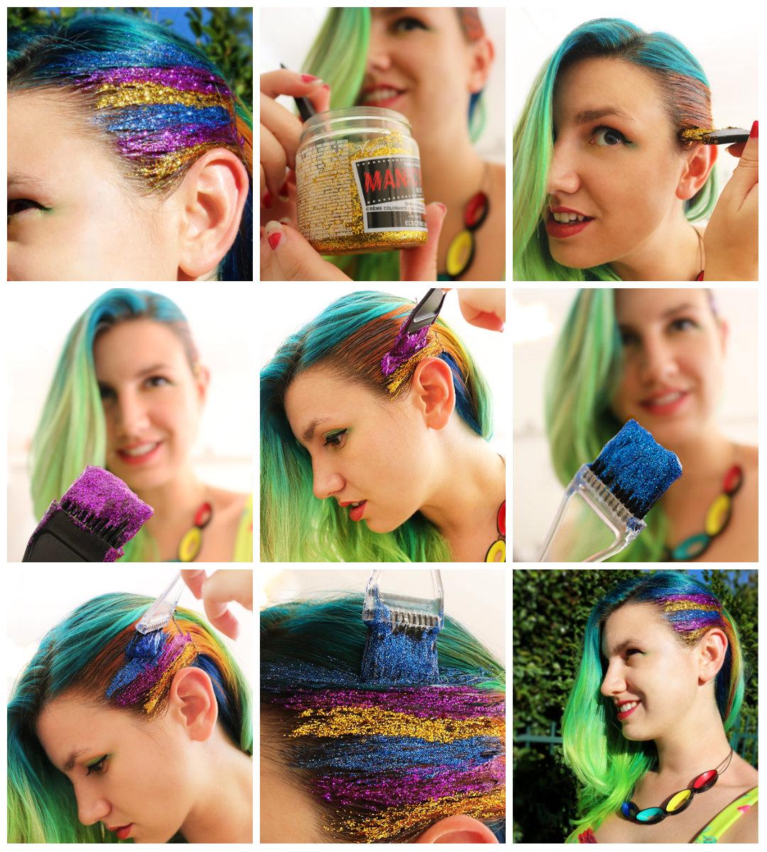 как наносить блестки для волос