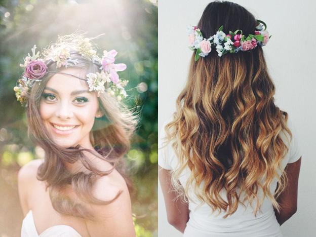 Свадебные прически: живые цветы