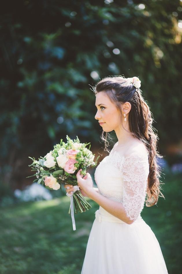 свадебные прически на полураспущенные волосы: фото 2
