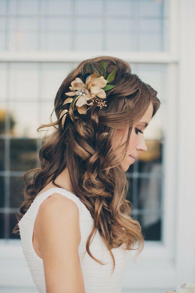 свадебные прически на полураспущенные волосы: фото 8