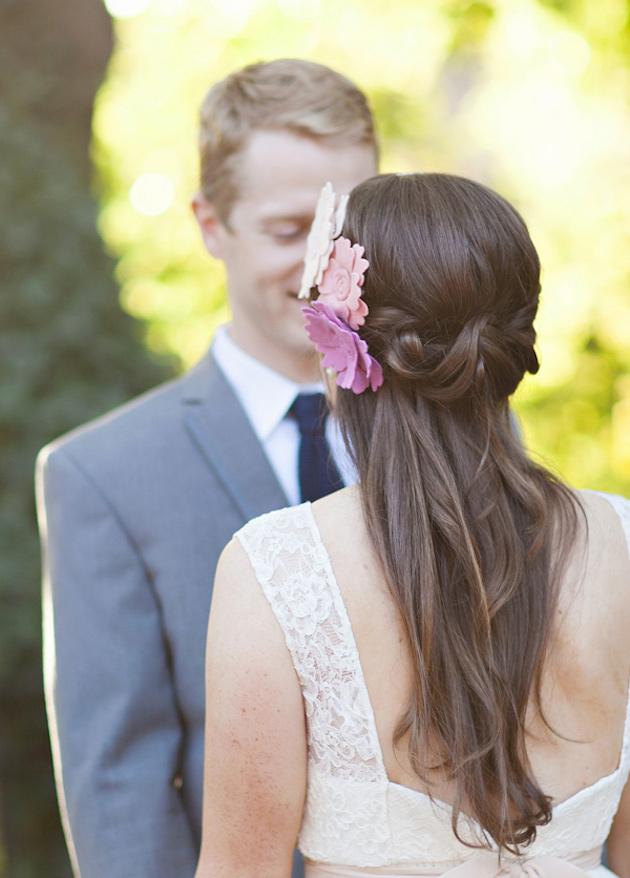 свадебные прически на полураспущенные волосы: фото 1
