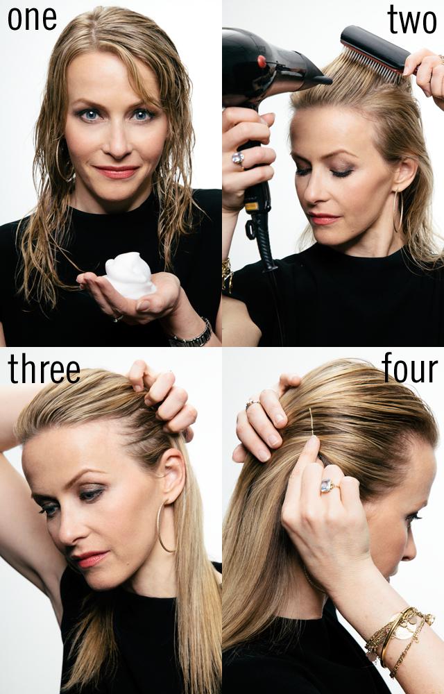 Зачесанные назад волосы