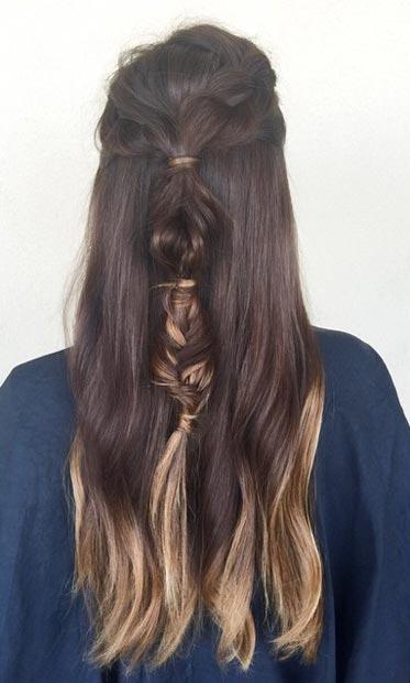 Прически на полураспущенные волосы: фото 21