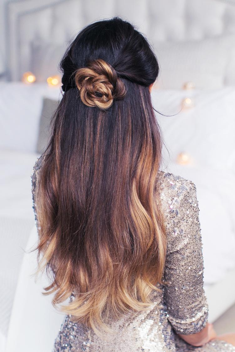Прически на полураспущенные волосы: фото 49