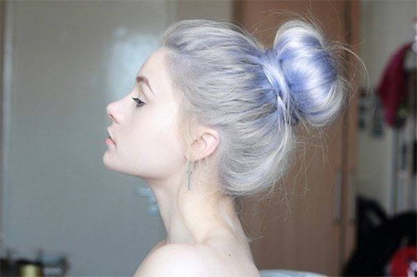 Silver-hair-color-with-pastel-blue-plus-a-high-bun-the-looking-is-so-nice
